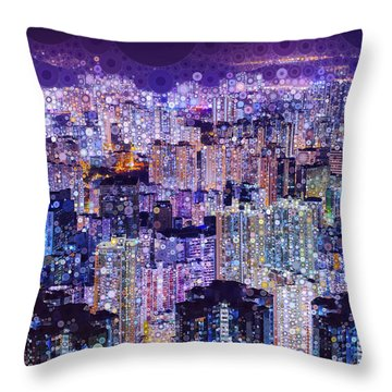 Throw Pillow featuring the mixed media Bright Lights, Big City by Susan Maxwell Schmidt