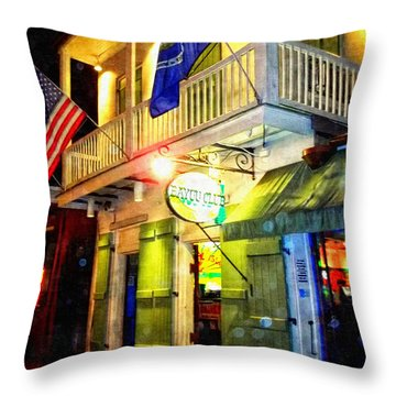 Throw Pillow featuring the photograph Bright Lights In The French Quarter by Glenn McCarthy Art and Photography