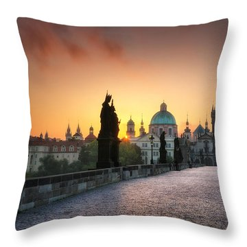 Bright Morning In Prague, Czech Republic Throw Pillow