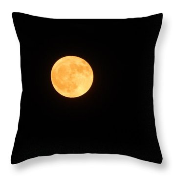Bright Orange Moon Throw Pillow