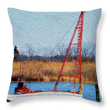 Throw Pillow featuring the photograph Bright Paintery Barge by Dennis Dame