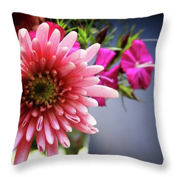 Bright Pink Floral 1- Art By Linda Woods Throw Pillow