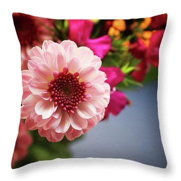 Bright Pink Floral 2- Art By Linda Woods Throw Pillow