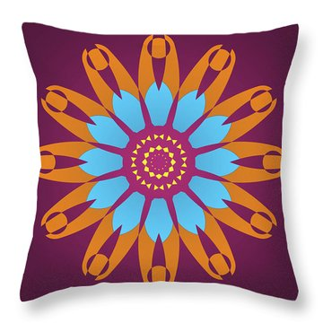 Bright Purple Back And Abstract Orange And Blue Star Throw Pillow