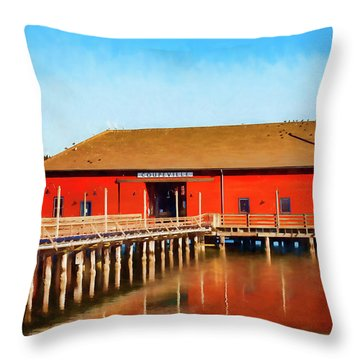 Bright Red Coupeville Wharf On Whidbey Island Throw Pillow