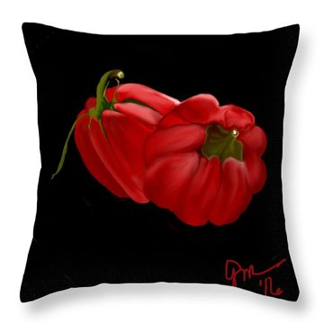 Bright Red Peppers Throw Pillow