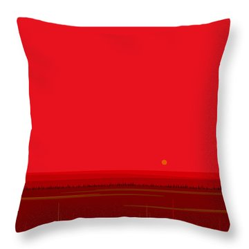 Bright Red Sunset Landscape Throw Pillow