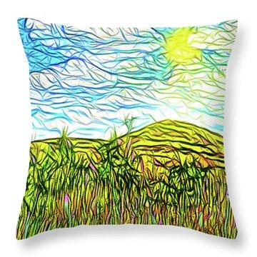 Bright Sky Summer - Field In Boulder County Colorado Throw Pillow