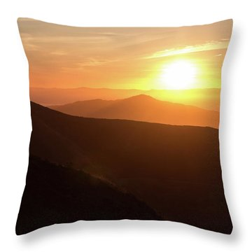 Bright Sun Rising Over The Mountains Throw Pillow