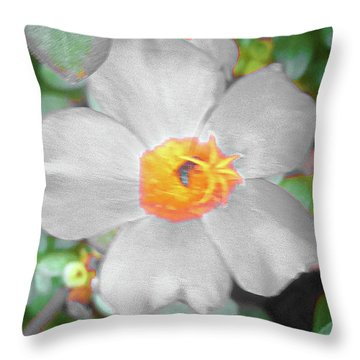 Bright White Vinca With Soft Green Throw Pillow