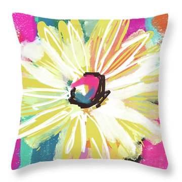 Bright Yellow Flower- Art By Linda Woods Throw Pillow