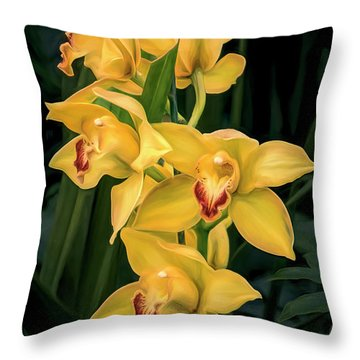 Bright Yellow Orchids Throw Pillow