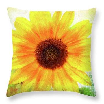 Bright Yellow Sunflower - Painted Summer Sunshine Throw Pillow