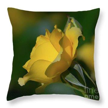 Bright Yellow Walking On Sunshine Rose Throw Pillow