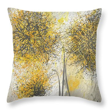Throw Pillow featuring the painting Brighter Blooms - Yellow And Gray Modern Artwork by Lourry Legarde