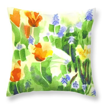 Brightly April Flowers Throw Pillow by Kip DeVore
