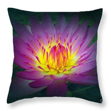 Brightly Glowing Lotus Flower Throw Pillow by Yali Shi