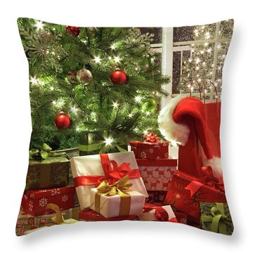 Brightly Lit Christmas Tree With Lots Of Gifts Throw Pillow