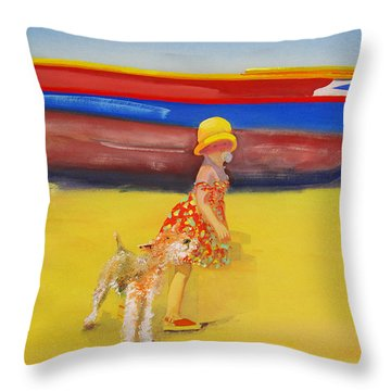 Brightly Painted Wooden Boats With Terrier And Friend Throw Pillow by Charles Stuart