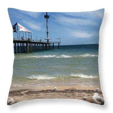 brighton Beach Throw Pillow by Anthony Christou