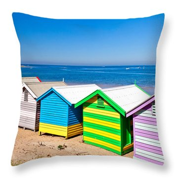 Brighton Beach Huts Throw Pillow