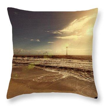 Throw Pillow featuring the photograph Brighton Beach Pier by Douglas Barnard
