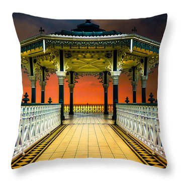 Throw Pillow featuring the photograph Brighton's Promenade Bandstand by Chris Lord