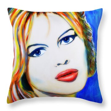 Brigitte Bardot Pop Art Portrait Throw Pillow