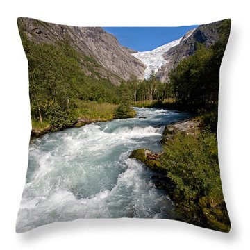 Briksdal Glacier Melting Waters Throw Pillow by Aivar Mikko