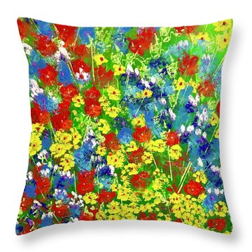 Brilliant Florals Throw Pillow