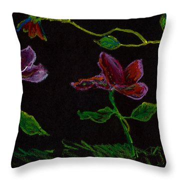 Brilliant Flowers On Black Hand Drawn Throw Pillow by Lenora  De Lude