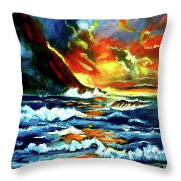 Brilliant Hawaiian Sunset Throw Pillow