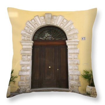 Brindisi By The Sea Door Throw Pillow