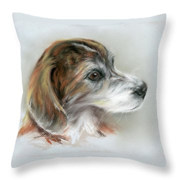 Brindle Beagle Mix Portrait Throw Pillow