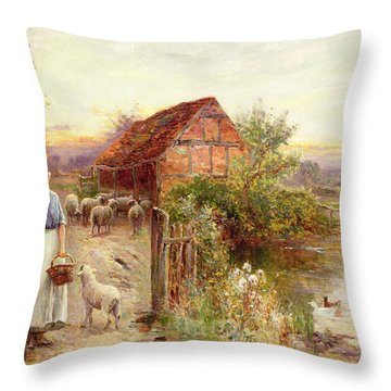 Bringing Home The Sheep Throw Pillow