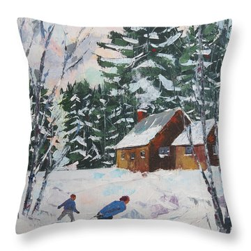 Bringing In The Tree Throw Pillow by David Gilmore