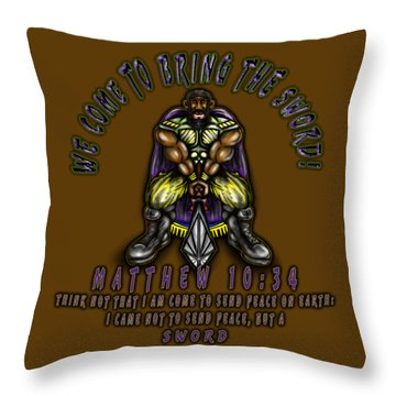 Bringing The Sword Throw Pillow