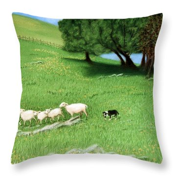 Throw Pillow featuring the pastel Bringing Them In  by Jan Amiss