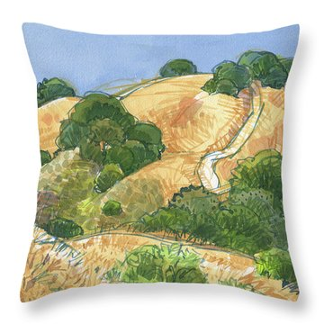 Throw Pillow featuring the painting Briones Crest Trail In June by Judith Kunzle