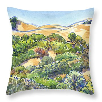Throw Pillow featuring the painting Briones Regional Park Hills by Judith Kunzle