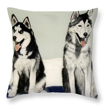 Brisco And Harley Throw Pillow by Jan Amiss