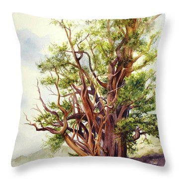 Throw Pillow featuring the painting Bristle Cone Pine by Bonnie Rinier
