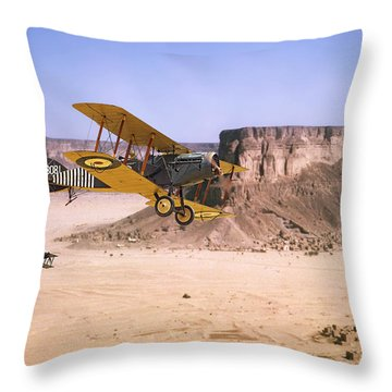 Throw Pillow featuring the photograph Bristol Fighter - Aden Protectorate  by Pat Speirs