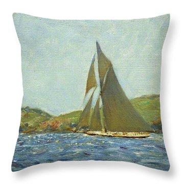Throw Pillow featuring the painting Britannia by Henry Scott Tuke