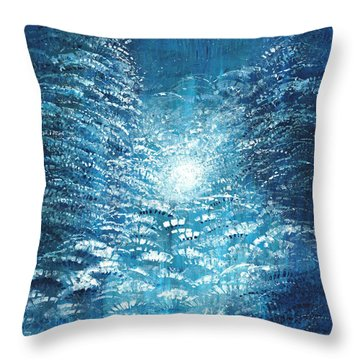 Throw Pillow featuring the painting Brite Nite by Holly Carmichael