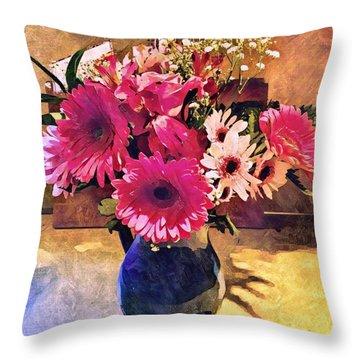 Brithday Wish Bouquet Throw Pillow
