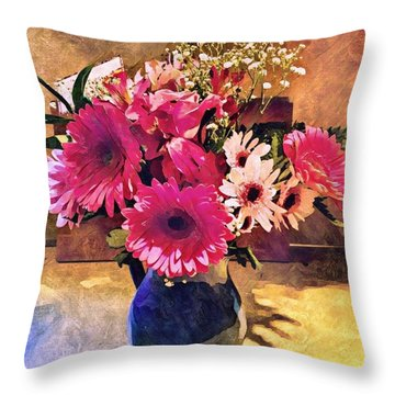 Brithday Wish Bouquet Throw Pillow by MaryLee Parker