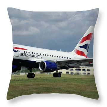 Throw Pillow featuring the photograph British Airways A318-112 G-eunb by Tim Beach
