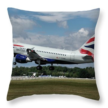 Throw Pillow featuring the photograph British Airways Airbus A318-112 G-eunb by Tim Beach