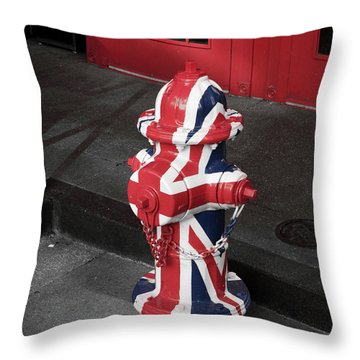 British Fire Hydrant Throw Pillow by Rae Tucker